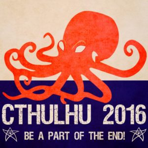 Cthulu running for president sign